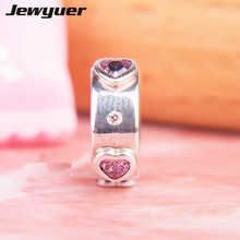 Buy Valentine's Day silver 925 Explosion Love heart clips charms fit 925 sterling silver bracelets DIY fine jewyuer jewelry KT089 for $15.05 in AliExpress store