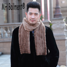 MH B Brand Men Mink Fur Scarves Winter 2017 Knitted Genuine Fur Scarf For Men Warm Hand Made Wraps Mink Long Straight Size S#45
