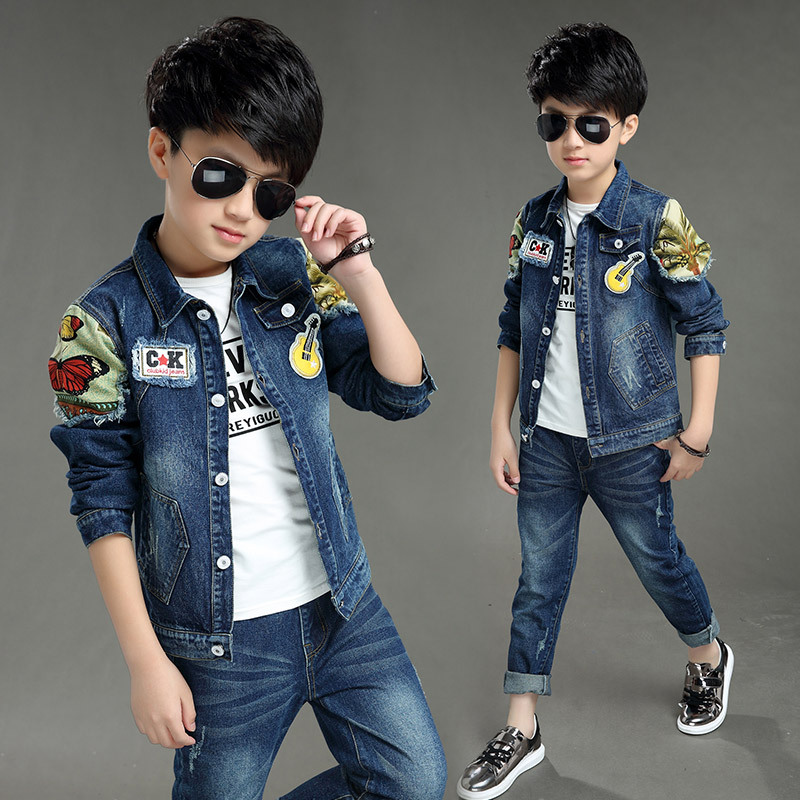 2017 spring and autumn boy cowboy suit children Korean violin butterfly two sets of children denim jacket<br>