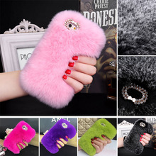 "Luxury fluffy Winter Phone Cover Case for 5 5s case For iphone 6 6S 4.7"" 6 Plus 6S Plus 5.5"" Cover Hair Soft fur Skin Back Case(China)"