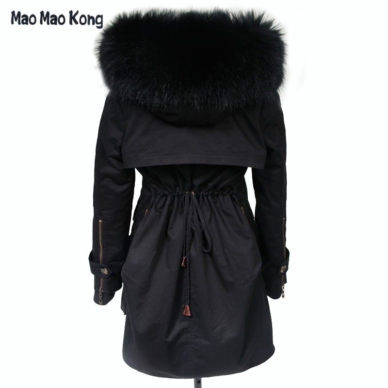 MaoMaoKong New 2018 Winter Coats Women Jackets Real Large Raccoon Fur Collar Thick Ladies Parkas Army Green Female Outerwear