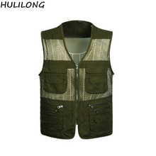 HULILONG Free Shipping New Mesh Vests for Shooting Men Multi-pocket Photographer Vest Reporter Director Vest