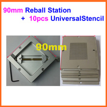Freeshipping 10pcs 90mm Universal Bga Reballing Stencil Reball Tample Kit + Diagonal Reball Station Ht-90