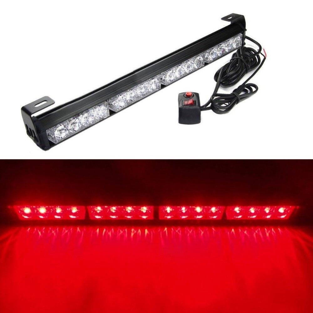 18 16 LED Emergency Advisor Strobe Beacon Safety Warning Flash Light Bar Red<br><br>Aliexpress