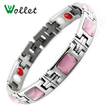 Wollet Jewelry Health Energy Magnetic Germanium Infrared Negative Ion Bracelet Pink Stone 316 Stainless Steel Jewelry For Women