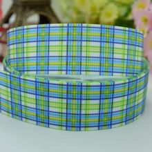 Blue plaid party decoration crafts accessories 22mm hairbow birthday character cheap printed grosgrain ribbon 50 yard 7/8 roll