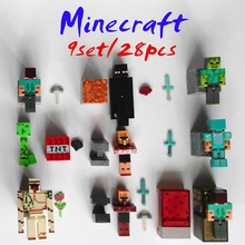 28pcs/9set Minecraft toys PVC action figure armor sword stone model collectible Christmas Gift for children kids