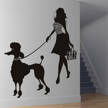 Fashion Lady Custom Made Colour Modern Girl And Poodle Wall Sticker Poodle Wall Decal Art Dog Wall Stickers Home Decor 117x145cm