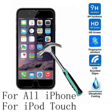 3/Lot 0.26mm Tempered Glass For Apple iPhone 4 4s 5 5s 5c SE 6 6s 7 Plus iPod Touch 6 5 4 6G 6TH 5G Screen Protector Cover Case