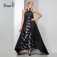Unique Jewel Neckline Flowers A-Line Long Printed Evening Dress 2017 Long Formal Long Prom Gown(China)