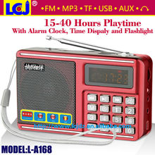 Free shipping L-A168 MP3 music alarm clock speaker support FM radio micro SD card USB flash drive earphone AUX LED flashlight