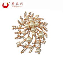 MZC Cheap Faux Pearl Brooch Female Strass Broches Flower Broshes for Women Wedding Jewelry Accessories X1685
