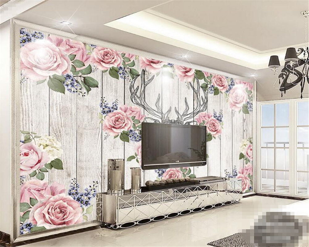 Hand painted deer head roses wood board frescoes background wall wallpaper TV sofa background wall painting custom 3d wallpaper<br><br>Aliexpress