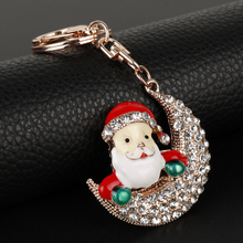 Lovely Smile Enamel Snowman Key Chains Crystal Christmas Santa Siting In Moon Pendant Purse Bags Car Key Holder New Year Gift(China)