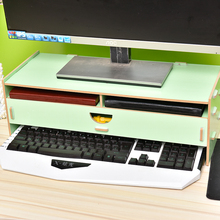 Adjustable Wood Computer Monitor Riser Stand Desktop Organizer,Keyboard Letter Tray File Holder Paper Storage for Home/Office