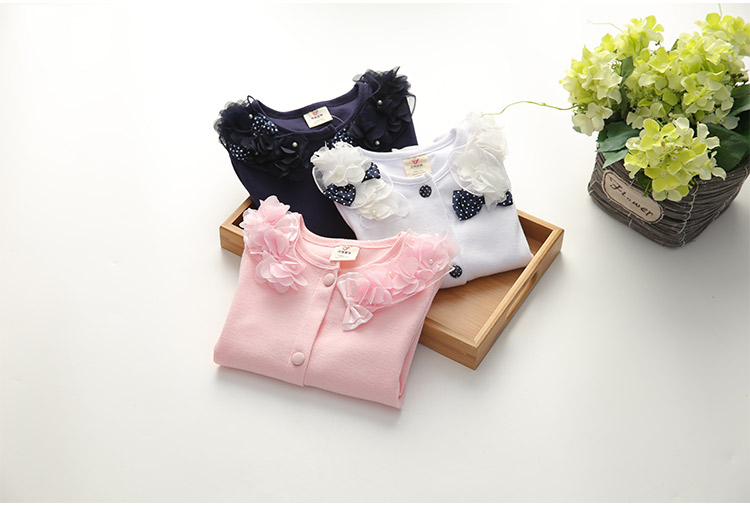2018 Spring and Autumn Bow Decoration Baby Child Girl Lace Patchwork Pure White and Blue Long-Sleeve Cardigan Top Outerwear (16)