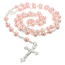 New Long Rosary Chain Imitate Pearl Ball Beads Pendant Necklace Silver Drop Cross 5 Colors 1NOX 6OBB(China)
