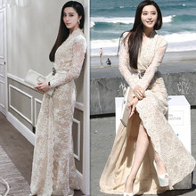 Autumn v-neck long sleeve nude lace dress split Fan Bingbing star of the same paragraph long dress
