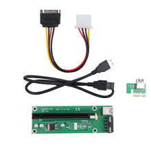hot 60cm PCI-Express PCI-E 1X to 16X Riser Card Adapter PCIE Extender + USB 3.0 Cable + SATA to 4Pin IDE Molex Power Cord