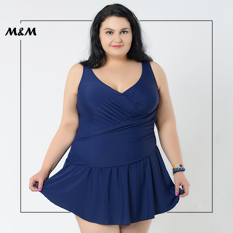 M&amp;M Sexy Push Up Plus Size One-Piece Swimsuit Women Solid Color Folds Lace Skirt Big Size Dress 4XL-8XL Large Size Swimwear <br>