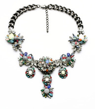 N00942 Beauty Latest Wholesale Latest Imitation Jewelry Gunmetal Color Rhinestone Unique Statement Heavy Chunky Necklaces