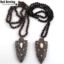Free Shipping Fashion Bohemian Jewelry Black Long Crystal Glass Knotted Handmake Paved Arrowhead Pendant Necklace(China)