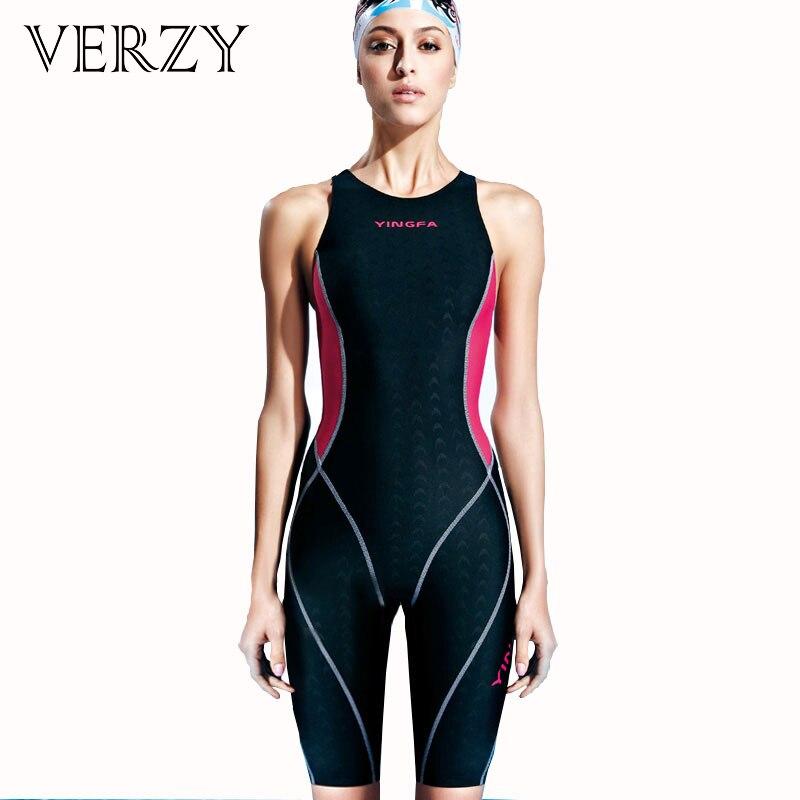 2017 Professional swimwear Sharkskin Women Sportwear knee length Bodysuit Athletic Swimsuit ladies swimming Competition swimsuit<br>