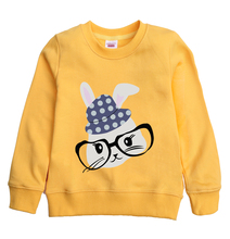 Winter  autumn Mr.rabbit cartoon pattern printed children's sweatshirt girl's hooded clothing with 8 colors for child choose