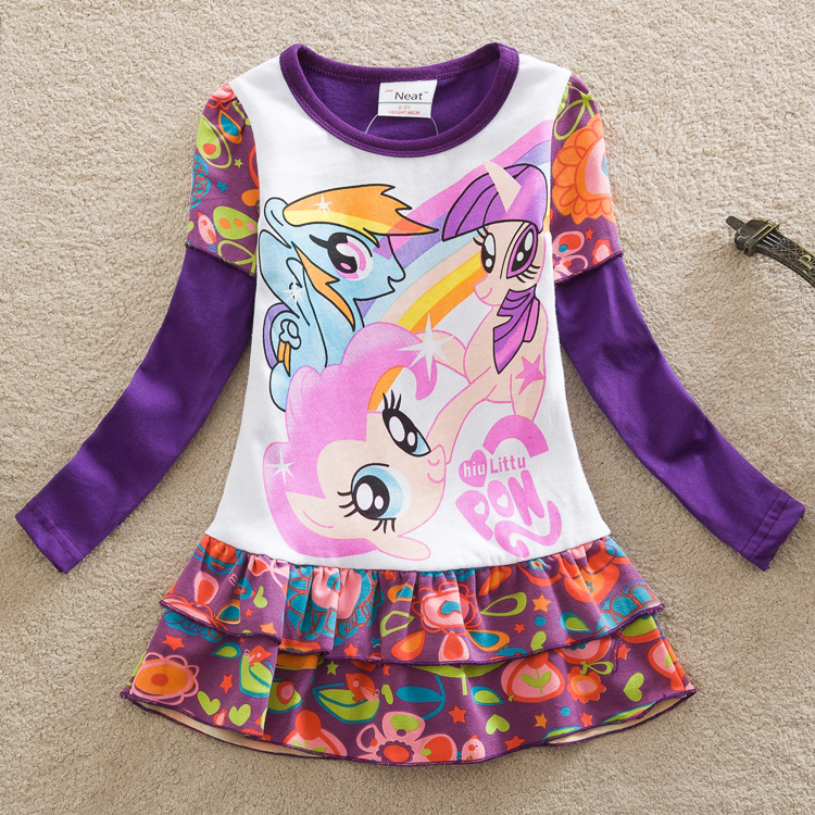 Neat new baby girl clothes 2016 spring fashion My Little Pony printing 100%cotton long sleeve lori girl dress kids clothes LD668<br><br>Aliexpress