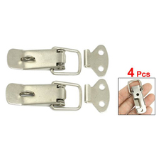 THGS New 4 Pcs Silver Hardware Cabinet Boxes Spring Loaded Latch Catch Toggle Hasp(China)