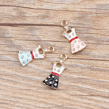 MRHUANG 10pcs/pack Skirt Enamel Charms Alloy Oil drop Pendant fit for bracelet DIY Fashion Jewelry Accessories