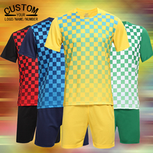 Men kids Soccer Jersey breathable survetement football form 2017 Football soccer tracksuit Jersey Plaid Sportwear Child futebol(China)
