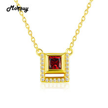 MoBuy MBNI020 Special Square Gemstone Garnet Necklaces & Pendants Sterling Silver 925 Jewelry 14K Yellow Gold Plated For Women