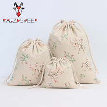 Raged Sheep Fashion Drawstring Cotton Grocery Shopping Bags Folding Shopping Cart Eco Flowers Printed Reusable Bag