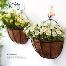 Coconut Palm Flower Pots Quarter Hanging Baskets Liners Iron Art Balcony  Wall Mounted Rattan Garden Metal Wall Basket Planter