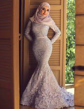 New Arrival Luxurious Dubai Lavender Lace Mermaid Long Sleeve Muslim Evening Dresses Arabic Evening Gowns