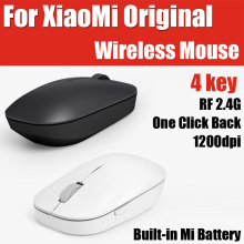 WSB01TM ABS 4 Key Built-in Mi Battery Original Xiaomi Portable Wireless Optical Mini Mouse RF 2.4GHz 1200dpi Windows/Mac/Chrome