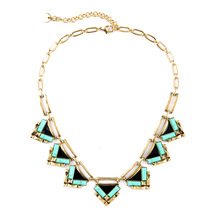 Stella New Modern Jewelry Design Geometric Green Resin and Enamel Black Mixed Statement Necklace for Women Daily Wear
