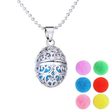 Silver Hollow Out Locket Necklace Women Perfume Fragrance Essential Oil Aromatherapy Diffuser Pendant Necklace With Long Chain