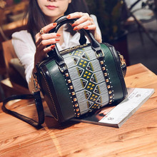 European New Small Retro Women Tote Bags Print Women Boston Handbag Rivets Women PU Leather Messenger Bags Pillow Shoulder Bag