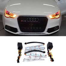 2x LED Headlight Flexible Strip Light White Amber Tear Eye Turn switchback Lamp For audi a4 b6 A3 A5 A7 A8 A6 A1 B4 B5 B6 Q3 Q5