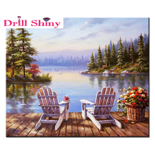 5D DIY Diamond Painting Square Mosaic lake scenery puzzle 3D Crossing Stitch Kits diamond Embroidery all Home Decor Needlework