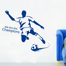 Boutique  Soccer Wall Sticker Football player Decal Sports Decoration Mural for Boys Kids Room Decor Blue