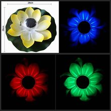 Practical Garden Pool Floating Lotus Solar Night Light Lantern Wishing lights Flower Lamp for Pond Fountain Decoration