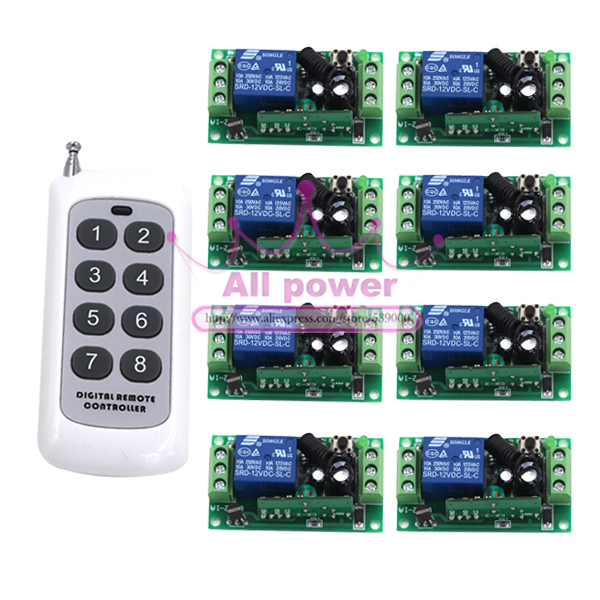 New 12V 1ch wireless remote control switch system 8CH transmitter &amp; 8Pcs 1CH receiver relay smart house<br>