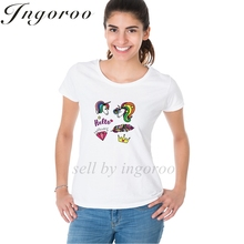Babaseal Patches With Unicorn Heart Feather Diamond Crown In Rainbow Colors Shirts Fashion Print Women's Shirt Pineapple Tops(China)
