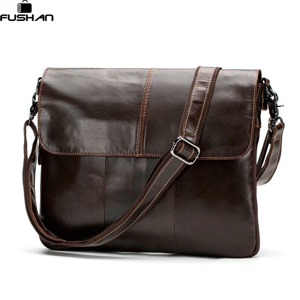 100% Genuine Leather Men bags Messenger Bag Crossbody Bag Mens Briefcase Vintage Shoulder Coffer Cowhide Leather Bags 2016 New<br>