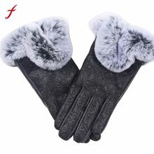 Fashion Women Lady Autumn Winter Gloves Women Rabbit Fur PU Leather Gloves Full Finger Ladies Gloves Warm mittens luva inverno(China)