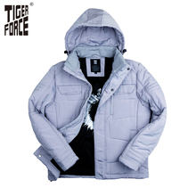 TIGER FORCE 2016 New Collection Men Parkas Fashion Cotton Jacket Casual Padded Coat Nylon Solid Zipper Free Shipping 7718