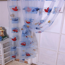 New Children Car Pattern Drape Panel Sheer Scarf Door Room Window Curtain 1*2M Hot